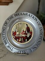 Vintage Wilton Pewter RWP The Drafting of the Declaration of Independence Plate