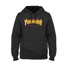 Felpa thrasher magazine Hoodie nera o bianca con cappuccio Unisex logo fiammato