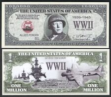 New World War II Patton Million Dollar Bill #1939-1945 Funny Money Novelty Note