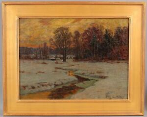 Antique WILLIAM LAVALLEY American Impressionist Winter Landscape Oil Painting