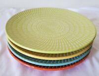 "Set of 4 Crate and Barrel Appetizer Dessert Plates 6.5"" Blue Orange Yellow Green"