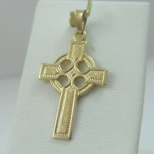 14K Gold Celtic Irish Ireland Cross Charm Pendant 1.6 gr
