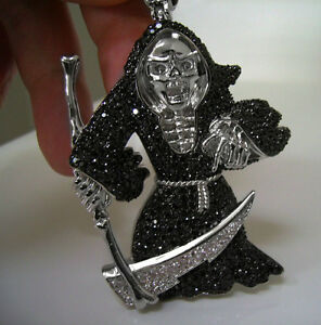 RARE! $350 GRIM REAPER DOOM SIMULATE BLACK DIAMOND PENDANT MF 14K WHITE GOLD WGP