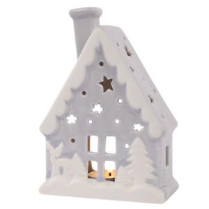 Grey & White Ceramic Christmas House Shaped Candle Tea Light Tealight Holder