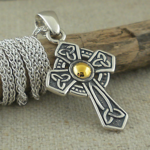 Sterling Silver Celtic Trinity Knot Cross Pendant 18K Accent KEITH JACK Jewelry