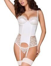 Obsessive underwired lace corset with thong 871-COR-2