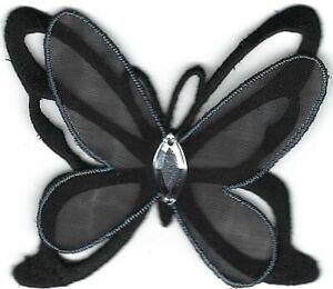 Noir Papillon Avec / Acrylique Gemme Broderie Patch