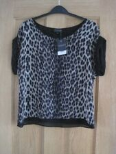 Women Topshop Leopard Print Lined Cap Sleeved Top Size 8 out