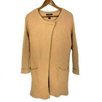Tahari Women's Lagenlook Draped Long  Merino Wool Sweater Coat sz 1X Camel Brown