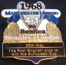 MANCHESTER UNITED v BENFICA Victory Pins 1968 EUROPEAN CUP Badge Danbury Mint