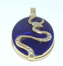 Fabergé Design Medallion Gold 14k Diamant 0,30ct. Esculap Schlange Einhänger