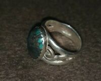 Size 4 And 1/2 Sterling Silver Ring With Dark Turquoise Stone?