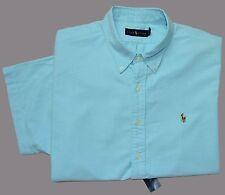 New XL POLO RALPH LAUREN Mens short sleeve oxford shirt light blue button down