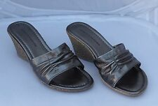 Dorothy Perkins Pewter Sandals Mules with Wedge Heel Size 5/38