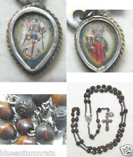 † HTF c1800s SCARCE ANTIQUE CARVED GENUINE BOVINE ROSARY HAND PAINTED CHARM †