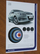 2008 Hyundai i30 original Australian Features, colours and Specification sheet