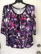 Cable and Gauge Purple peasant Top XL NWT