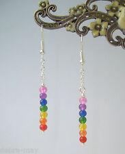 Pretty Dangly Multi-Coloured Rainbow Chakra Drop Earrings - Reiki Healing