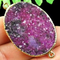 Gold Edge Natural Purple Lepidolite Oval Connector Pendant Bead DHS177