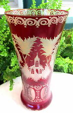 VINTAGE EGERMANN BOHEMIAN CRYSTAL CZECH CUT TO CLEAR RED VASE