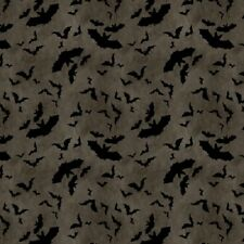 COME SIT A SPELL GREY BATS HALLOWEEN FABRIC