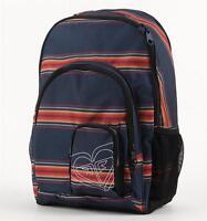 Roxy Girls Nobel Trek Blue Multi Stripe Laptop Backpack Bookbag New NWT