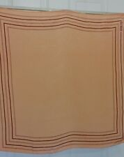 """TERRIART Peach with Burgundy Striped Border 25"""" SILK Square Scarf-Vintage"""