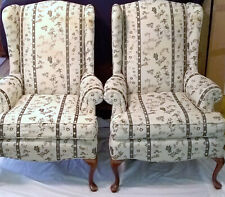 Vintage Queen Anne Style High Back Wing Back Chairs Tapestry Armchair Pair Set 2