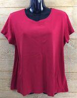 St. John's Bay Women's Shirt Top Size Large Red Blouse Short Sleeve