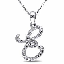 """Amour 10k White Gold Diamond """"E"""" Initial Necklace"""
