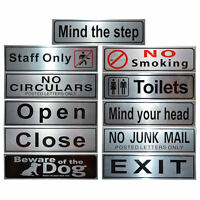 20 Style Shop Business office WC Letterbox Silver Metal Door Signs Notice Plate