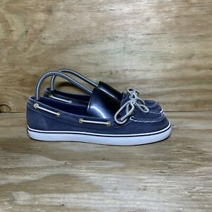 Sperry Lola Boat Shoes Womens Size 8.5 M Blue White Flats 9688698
