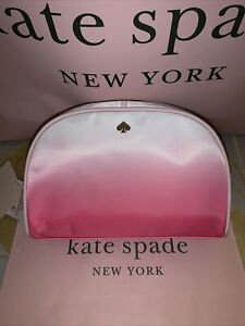 Kate Spade NWT Medium Dome Radiant Pink Fabric Cosmetic Case Bag Pouch $78