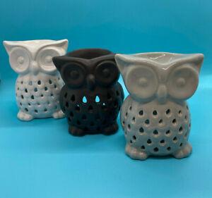 Black White OR Grey Owl Oil Burner H 12 xW 11cm Plus Free T-lights & Wax Melts