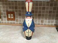 Antique Uncle Sam Bowling Pin Folk Art Hand Painted Sculpture Vintage Patriotic