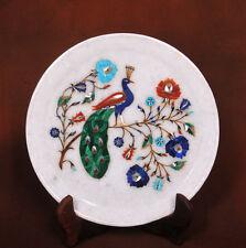 "Marble Plate 12"" Marquetry Flower semi Precious Pietra Dura Inlay Handmade work"
