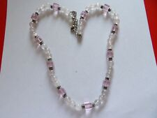 Pastel pink rose quartz and faceted glass bead necklace with extener chain MB27