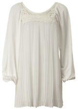 AX Paris UK 10 Cream Embroiderd Pleated Tunic/Smock Dress Jersey/Chiffon New