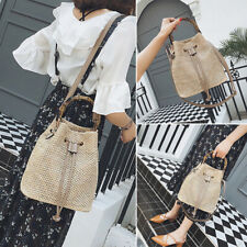Women Boho Straw Handbag Shoulder Bag Purse Cross Body Bucket Bag Satchel Summer