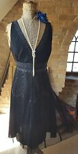 Oasis Vintage 1920's  Deco Bead Sequin Flapper Charleston Gatsby Party Dress 10