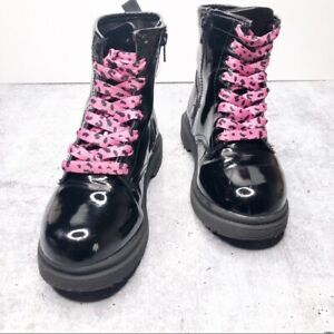 Cherokee Combat Boots Size 1 Pink Black Youth Girls  Shoes Pre Owned