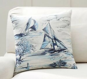 "Pottery Barn Sailboat Pillow Cover 18"" Square, NIP"