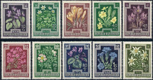 """1948 """"Austria"""" Beautiful Alpine-Flowers, Gentian, Edelweiss, compl. set VF/MNH!"""