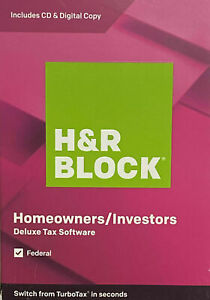 New Sealed H&R BLOCK 2019 Homeowners Investors - Federal - Deluxe Tax Software