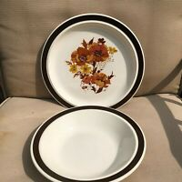 Vintage Stoneware USA Serving bowl and chop plate brown orange floral