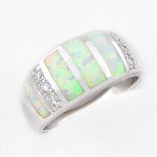 18K White Gold & Sterling Silver Shine White Fire Opal White Zircon Ring Size 7