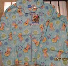 Dreamworks Trolls Flannel Pajama Set Blue Pants Button Down Shirt GIRLS L 10-12