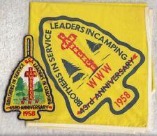 H934 BSA OA Scouts - 1958 NOAC POCKET PATCH & NECKERCHIEF SET  - REAL