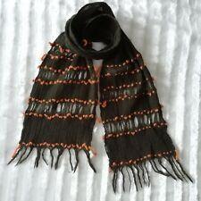 Sciarpa marrone con inserti arancioni 100% lana Sottile ma molto calda 694127ad1903