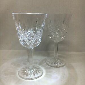 """Waterford """"Lismore"""" Glass Crystal Wine Glasses Goblets - Set of 2 - 4 Ounce"""